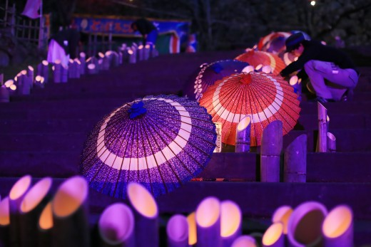 「ワイワイ花宵物語」竹灯籠設置完了!